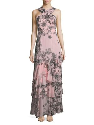 Halter Floral-Print Tiered Gown 500088079695