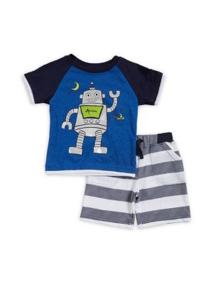 Baby Boys TwoPiece Robot Graphic Tee and Shorts Set