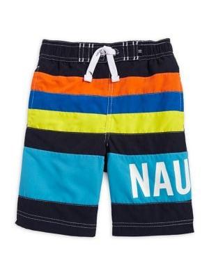 Boys Zachary Multicolored Striped Swim Trunks