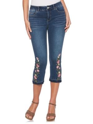 Petite Floral Embroidered Jeans 500088100350