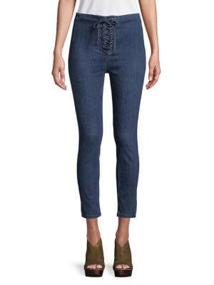 Lace-Up High-Waist Jeans 500088112928