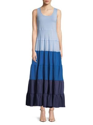 Colorblock Tiered Dress...