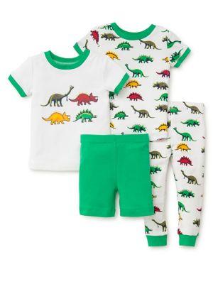 Little Boys FourPiece Dino Cotton Pajama Set