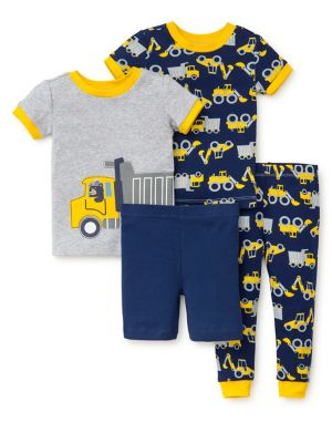 Baby Boys FourPiece Construction Pajama Set