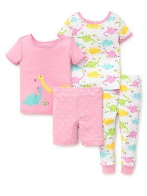 Little Girls FourPiece Dino Cotton Pajama Set