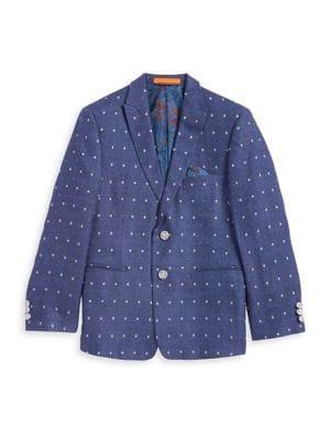 Boys Patterned Linen Suit Jacket