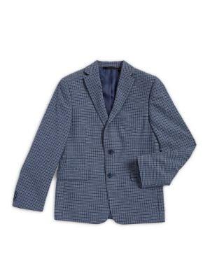 Boy's Check Cotton-Linen...