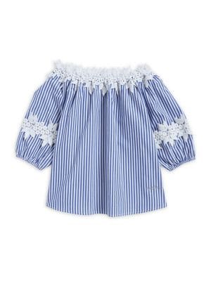 Girl's Lace-Trimmed Stripe...