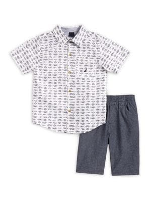 Little Boy's Two-Piece Cotton Collared Shirt and Shorts Set 500088126528