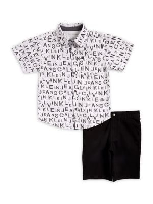 Little Boy's Logo Cotton Collared Shirt and Shorts Set 500088126618