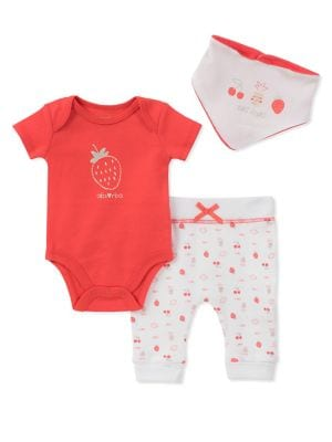 Baby Girls ThreePiece Cotton StrawberryPrint Bodysuit Pants and Bib Set