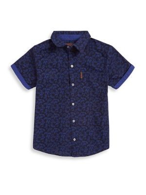 Boy's Paisley Short-Sleeve Cotton Collared Shirt 500088135279