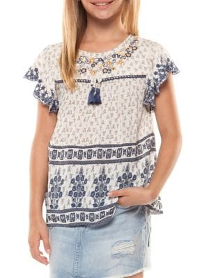 Girl's Printed Cap-Sleeve...