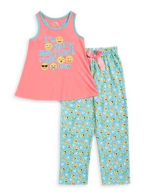 Girls TwoPiece Emoji Pajama Set