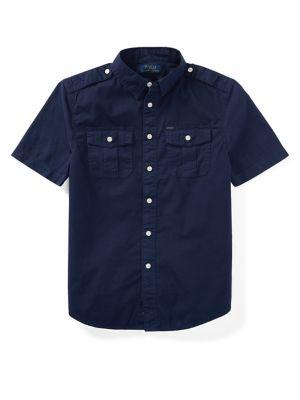 Boys Epaulette Cotton Collared Shirt