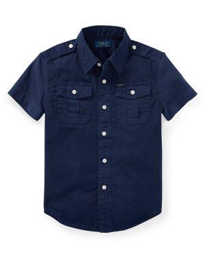 Little Boys Epaulette Cotton Collared Shirt
