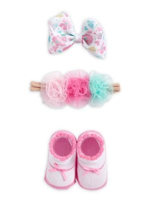 Baby Girls ThreePiece Floral Headwrap Hair Clip and Booties Set