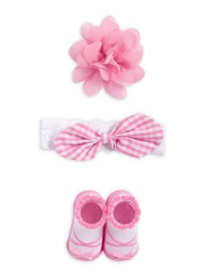 Baby Girls ThreePiece Gingham Bow Headband Hair Clip and Booties Set