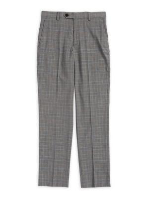 Boys Check Suit Pants