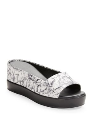 Marble-Effect Leather Platform Sandals by French Connection