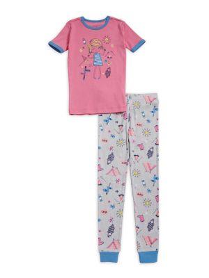 Little Girls TwoPiece Summer Camp Pajama Set