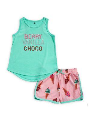 Little Girls and Girls TwoPiece Ice Cream Pajama Set