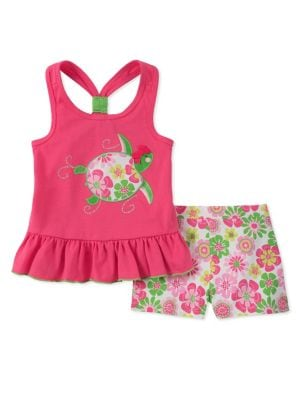 Little Girls TwoPiece Turtle Top and Floral Shorts Set