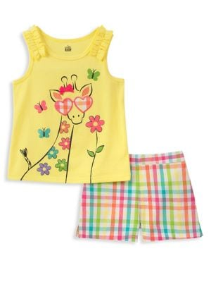 Little Girls TwoPiece Giraffe Top and Shorts Set