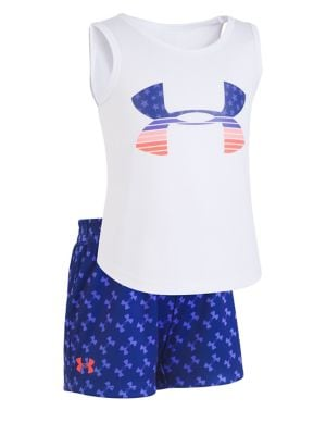 Little Girl's Two-Piece Flagged Stretch Tank Top and Shorts Set 500088163342