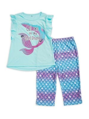Little Girls  Girls TwoPiece Shell Phone Pajama Set