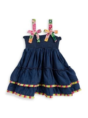 Little Girls Denim Fringe Dress