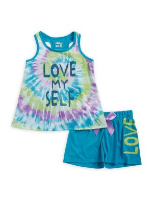 Girls TwoPiece Love Myself TieDye Pajama Set