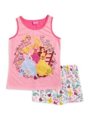 Little Girls  Girls TwoPiece Disney Princess Top and Shorts Pajama Set