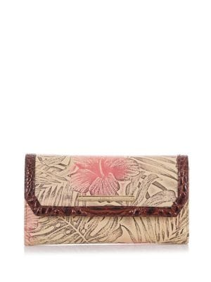 Amina Soft Leather Tri-Fold Checkbook Wallet 500088208444