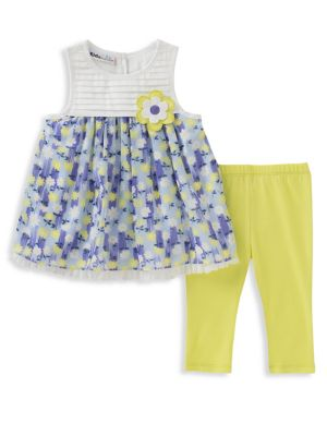 Baby Girls TwoPiece Floral Tunic and Capri Pants Set