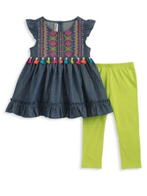 Baby Girls TwoPiece Embroidered Cotton Tunic and Capri Leggings Set