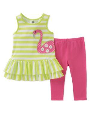 Baby Girls TwoPiece Flamingo Tunic and Capri Pants Set