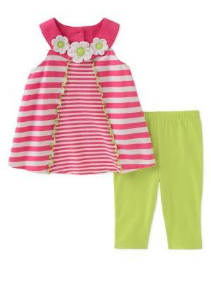 Baby Girls TwoPiece Striped Tunic and Capri Pants Set