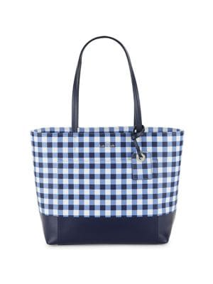 Gingham Leather Tote 500088213057