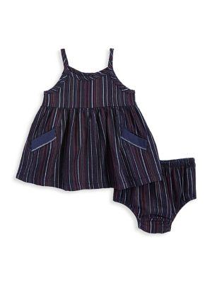 Baby Girl's Two-Piece Stripe Dress & Bottoms Set 500088216518