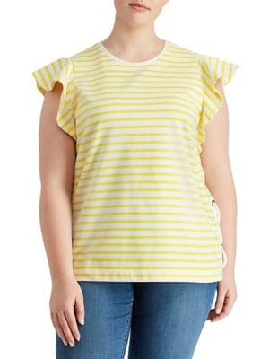 Plus Striped Cotton Flutter-Sleeve...