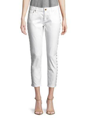 Izy Cropped Studded Skinny Jeans 500088236509