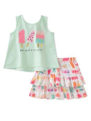 Little Girls TwoPiece Summer Treats Tank Top and Skirt Set