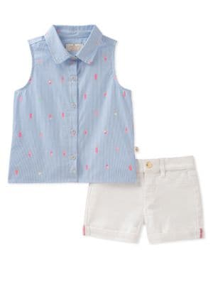 Little Girls Mini Ice Pops Cotton Collared Shirt and Denim Shorts Set