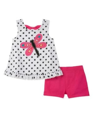 Little Girls TwoPiece Dragonfly Top and Shorts Set