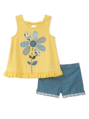 Little Girls TwoPiece Patterned Flower Top and Dotted Denim Shorts Set