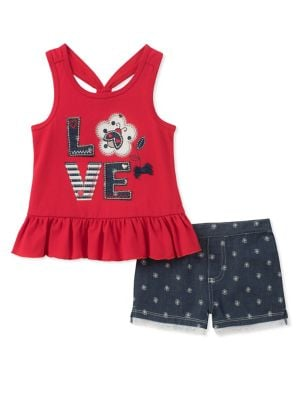 Little Girls TwoPiece Ruffle Top and Denim Shorts Set