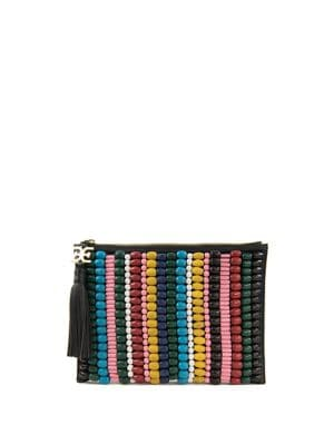 Multicolor Beaded Canvas Pouch 500088239392