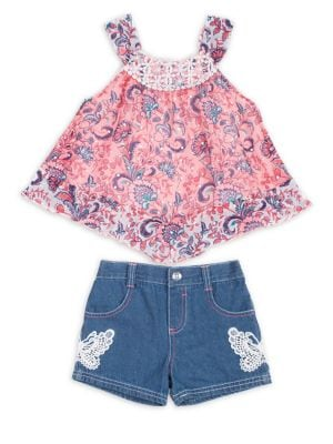Little Girls TwoPiece Printed Top and Denim Shorts Set