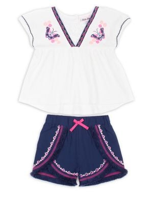 Little Girls TwoPiece LaceTrim Top and Shorts Set